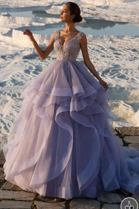 Prom Ball Gown, V Neck Prom Dress, Beaded Prom Dress, Light Purple Prom Dress, Lace Applique Prom Dress, Elegant Prom Dress, Cheap Prom Dress, Prom Dresses 2018, Arabic Prom Dress, Organza Prom Dress