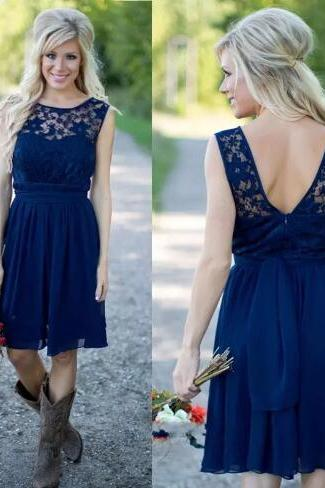 Short Bridesmaid Dress, Navy Blue Bridesmaid Dress, Lace Bridesmaid Dress, Chiffon Bridesmaid Dress, Junior Bridesmaid Dress, Bridesmaid Dresses 2018, Cute Bridesmaid Dress, Wedding Party Dresses