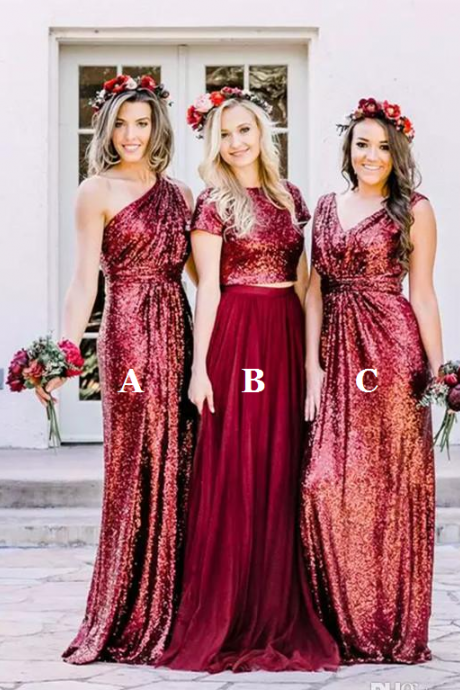 Burgundy Bridesmaid Dress, Mismatched Bridesmaid Dress, Wedding Party Dress, Sequin Bridesmaid Dress, Cheap Bridesmaid Dress, Bridesmaid Dresses 2018, Elegant Bridesmaid Dress, Sparkly Bridesmaid Dress