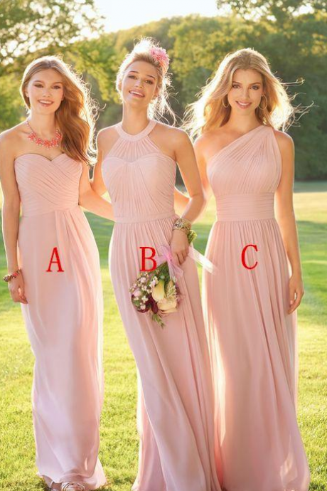 Dusty Pink Bridesmaid Dress, Wedding Party Dresses, Bridesmaid Dresses 2018, Mismatched Bridesmaid Dresses, Mixed Style Bridesmaid Dresses, Chiffon Bridesmaid Dress, Bridesmaid Dresses Long