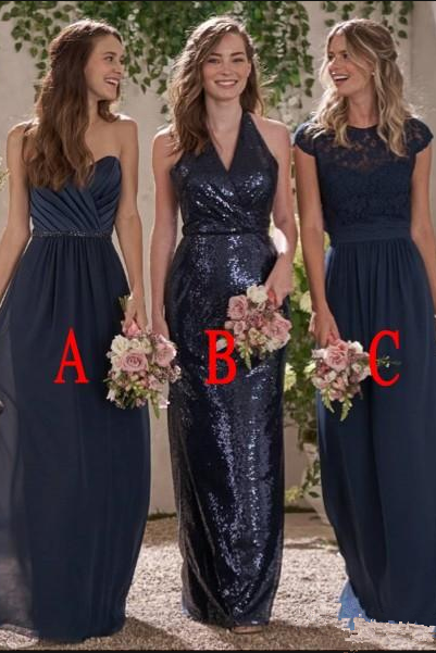 Navy Blue Bridesmaid Dress, Bridesmaid Dresses Long, Cheap Bridesmaid Dress, Wedding Party Dress, Lace Bridesmaid Dress, Sequin Bridesmaid Dress, Mismatched Bridesmaid Dresses