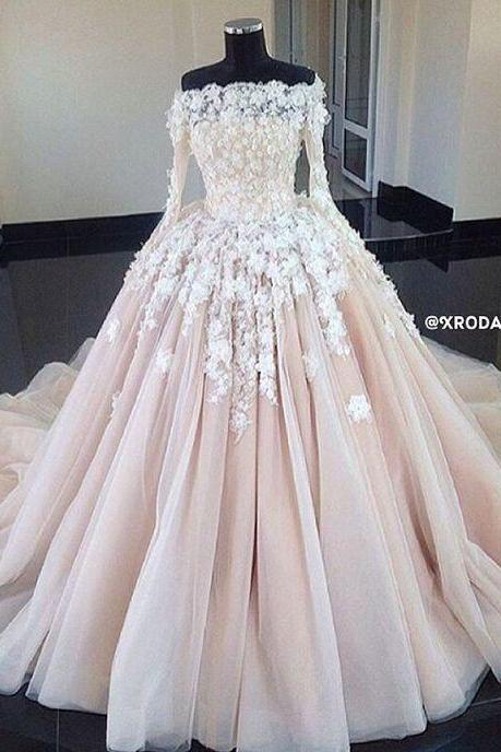 Long Sleeve Wedding Dress, Wedding Dresses 2018, Lace Applique Wedding Dress, Luxury Wedding Dress, Vestido De Novia, Handmade Flower Wedding Dress, Robe De Mariage