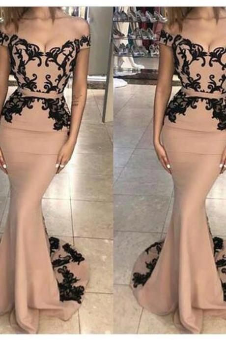 Mermaid Evening Dress, Arabic Evening Dress, Black Applique Evening Dress, Evening Dresses Long, Light Brown Evening Dress, Robe De Soiree, Elegant Evening Dress, Off the Shoulder Evening Dress
