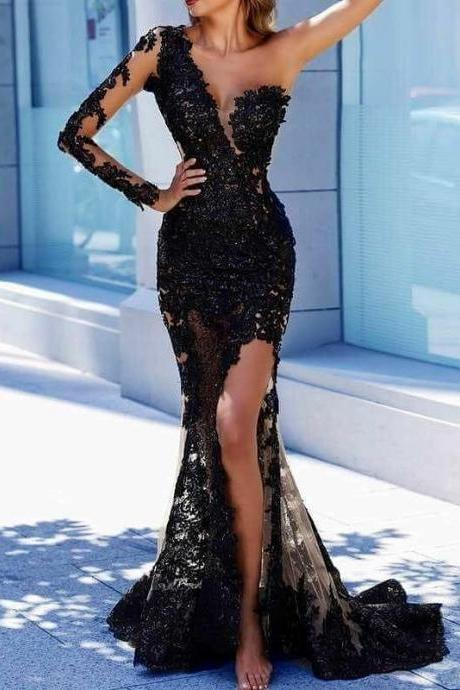 Black Evening Dress, One Shoulder Evening Dress, Lace Applique Evening Dress, Evening Dresses 2018, Robe De Soiree, Elegant Evening Dress, Sexy Evening Dress, Women Formal Dress