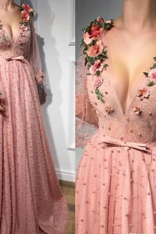 Beaded Prom Dress, Pink Prom Dress, Embroidery Applique Prom Dress, Prom Dresses 2018, Vestido De Festa, Elegant Prom Dress, Long Sleeve Prom Dress, Cheap Prom Dress, Luxury Prom Dress