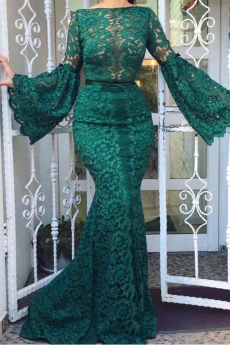 Dark Green Evening Dress, Lace Evening Dress, Mermaid Evening Dress, Evening Dresses 2018, Women Formal Dress, Long Sleeve Evening Dress, Elegant Evening Dress, Cheap Evening Dress