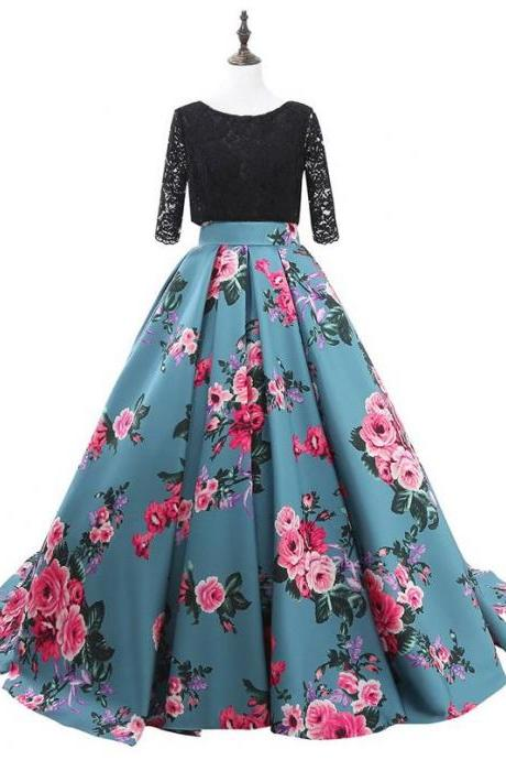 Printed Prom Dress, Prom Dresses 2018, Elegant Prom Dress, A Line Prom Dress, Floor Length Prom Dress, Cheap Prom Dress, Lace Prom Dress, Vestido De Festa
