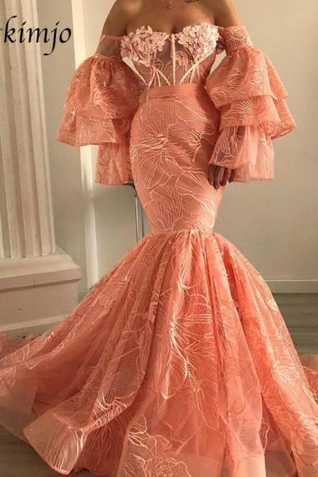 Luxury Evening Dress, Coral Evening Dress, Mermaid Evening Dress, Elegant Evening Dress, Flare Sleeve Evening Dress, Lace Applique Evening Dress, Evening Dresses Long, Formal Party Dress