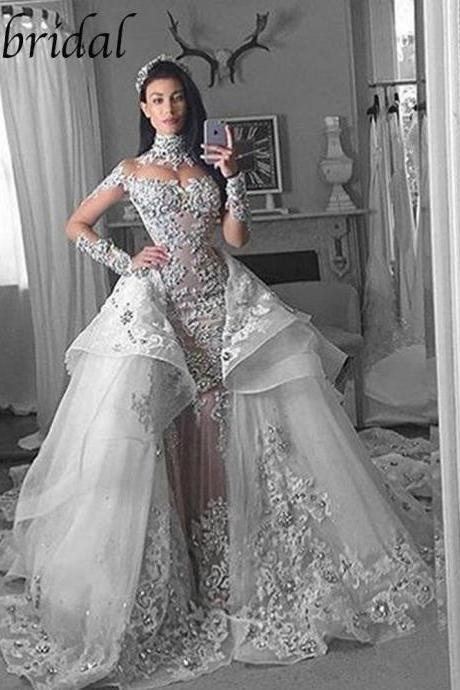 Detachable Skirt Wedding Dress, Luxury Wedding Dress, High Neck Wedding Dress, Wedding Dresses 2019, Vestido De Novia, Long Sleeve Elegant Wedding Dress, Wedding Dresses for Bride, Crystals Wedding Dress