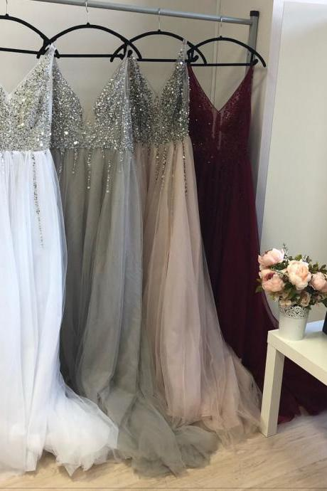 V Neck Prom Dress, A Line Prom Dress, Tulle Prom Dress, Sleeveless Prom Dress, Beaded Prom Dress, 2019 Prom Dress, Floor Length Prom Dress, Prom Dresses for Women, Sexy Prom Dress