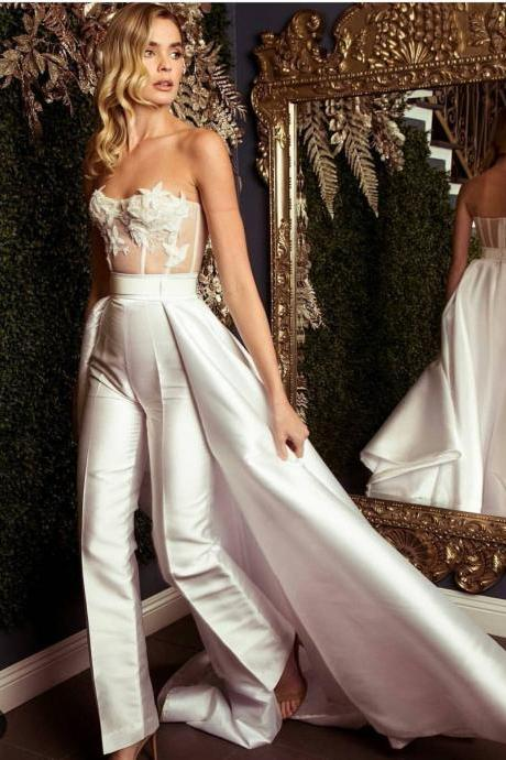 Jumpsuits for Women, White Evening Dresses Pants, Elegant Evening Dress, Vestido De Novia, Robe De Mariee, Elegant Wedding Dress, Pants, Lace Evening Dress, Jumpsuits