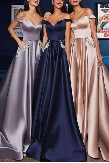 Navy Blue Prom Dress, Satin Prom Dress, Beaded Prom Dress, Off the Shoulder Prom Dress, Prom Gown, Vestido De Festa, Robe De Soiree, A Line Prom Dress, Prom Dresses with Pocket