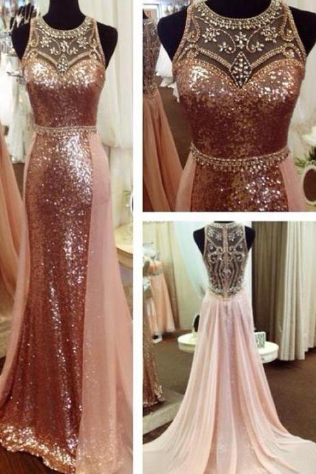 Rose Sequin Evening Dress, Evening Dresses Long, Crystals Evening Dress, Robe De Soiree, Detachable Skirt Evening Dress, Evening Gown, Beaded Evening Dress