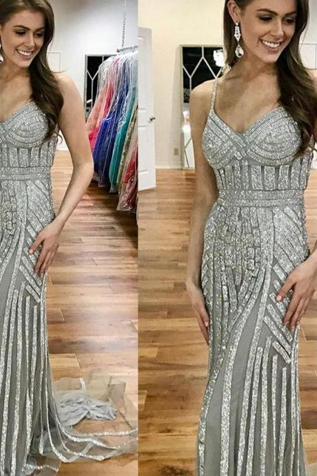 Silver Evening Dress, Sparkly Evening Dress, Mermaid Evening Dress, Sexy Formal Dress, Evening Dresses Long, 2019 Evening Dress, Sparkly Evening Dress, Evening Gown