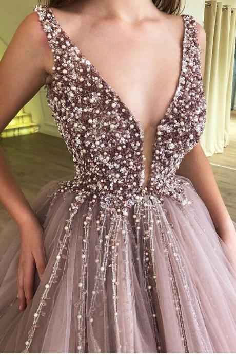 Brown Prom Dress, Beaded Prom Dress, V Neck Prom Dress, Prom Dresses 2019, Vestido De Festa, Elegant Prom Dress, Ball Gown Prom Dress, Vestido De Festa