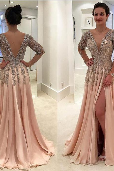 Deep V Neck Prom Dresses 2019 Long Sleeve Beaded Champagne A Line Chiffon Prom Gown Luxury Vestido De Festa