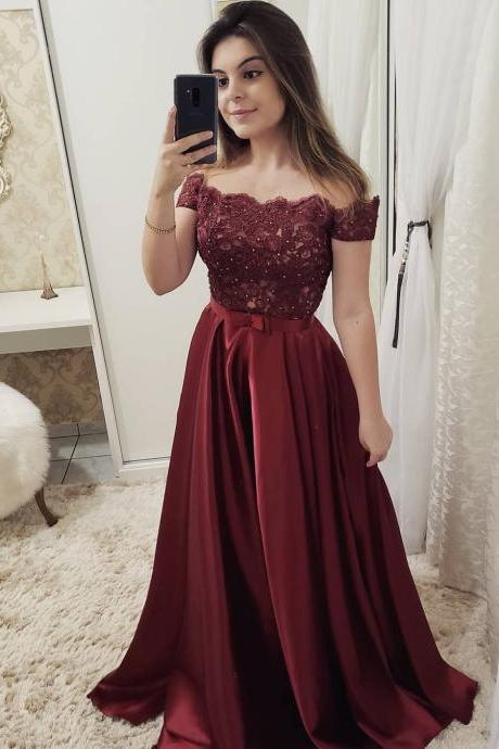 Off the Shoulder Prom Dresses 2019 Lace Applique Beaded Burgundy Elegant Prom Gown Robe De Soiree