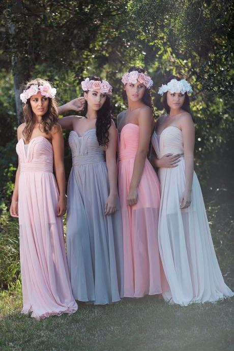 Chiffon Cheap Wedding Party Dresses 2019 Long A Line Custom Simple Bridesmaid Dresses for Women