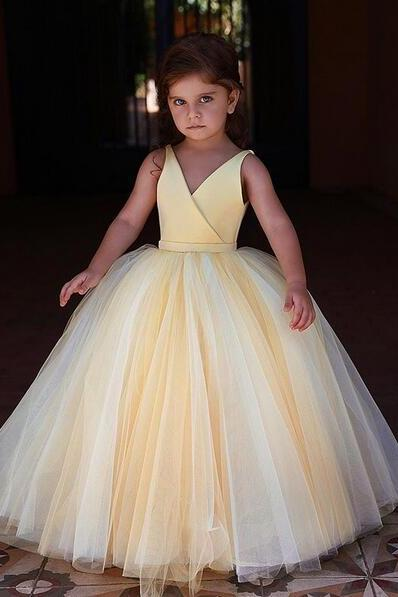 Cute Yellow Flower Girl Dresses for Weddings 2019 Cheap V Neck Cheap Pageant Little Girl Dresses