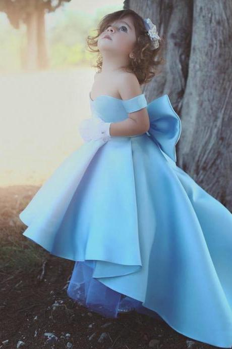 2019 High Low Prom Dresses Blue Satin Cheap Flower Girl Dresses for Weddings Kid Prom Dresses