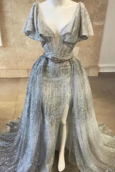 Silver Sparkle Evening Dresses Long Short Sleeve Mermaid Sexy V Neck Evening Gown Robe De Soiree 2019