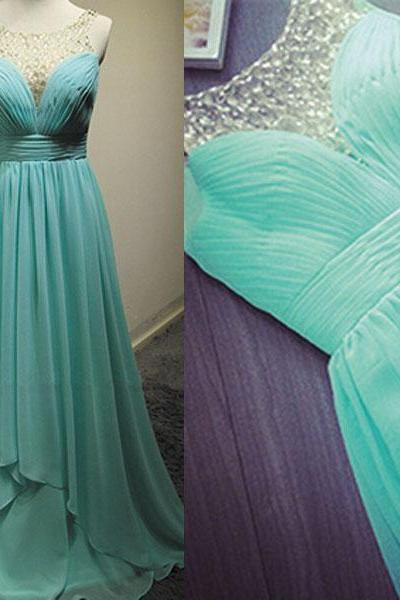 O Neck Beaded Prom Dresses 2019 Chiffon Turquoise Blue A Line Elegant Cheap Prom Gown