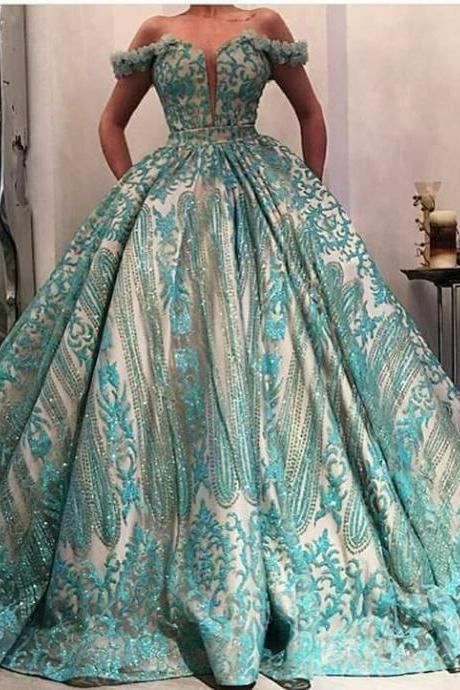 2019 Ball Gown Prom Dresses Turquoise Blue Off the Shoulder Handmade Flowers Elegant Prom Gowns Robe De Soiree