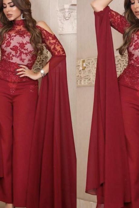 burgundy lace jumpsuits for women 2019 elegant dubai fashion high neck pants for weddings robe de soiree