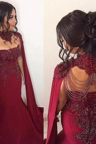 dubai fashion 2020 burgundy evening dresses long mermaid beaded crystals lace applique luxury evening gown vestido de festa