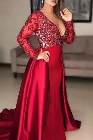 detachable skirt red evening dresses 2019 long sleeve beaded elegant satin deep v neck evening gown 2020