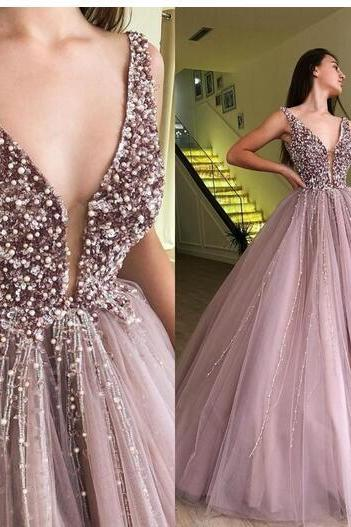 ball gown prom dresses 2020 luxury deep v neck beaded crystals brown elegant prom gown vestido de graduacion