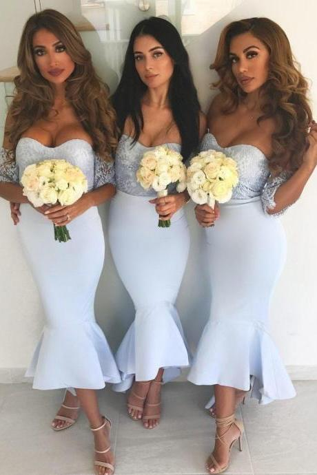 off the shoulder blue bridesmaid dresses 2019 mermaid cheap elegant custom wedding guest dresses 2020