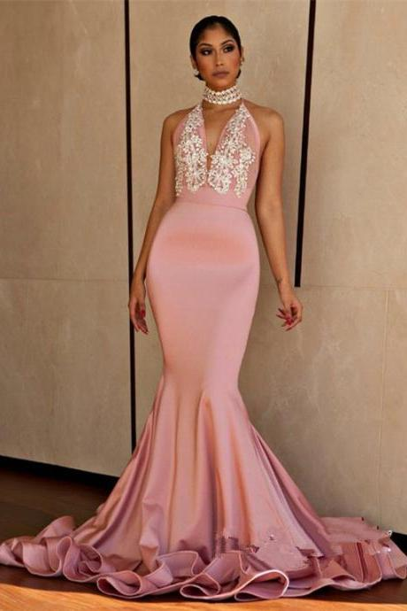 high neck mermaid evening dresses long 2020 pink lace applique peals beaded sexy formal dress evening gown 2019