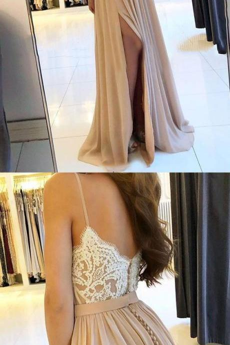champagne lace applique prom dresses long 2020 chiffon cheap custom elegant a line prom gown with side slit