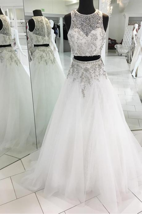 o neck beaded prom dresses long white tulle elegant crystals sheer back two piece prom gowns 2020