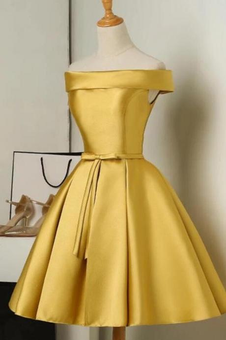 2020 cheap bridesmaid dresses short satin off the shoulder gold cute wedding party dress 2019