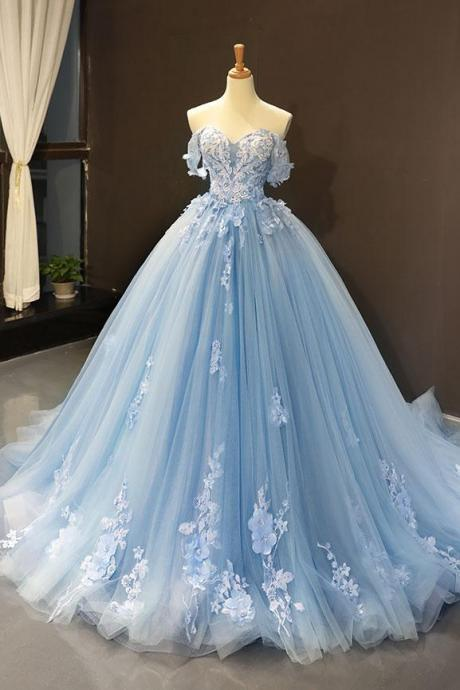 blue wedding dresses 2020 lace applique elegant off the shoulder wedding ball gown vestido de novia 2019