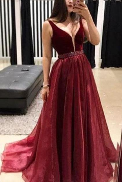 burgundy v neck prom dresses 2020 beaded tulle elegant cheap prom gown long robe de soiree
