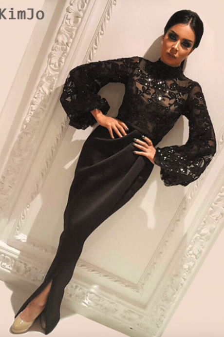 high neck evening dresses long 2020 black mermaid sequin applique arabic evening gown robe de soiree 2019