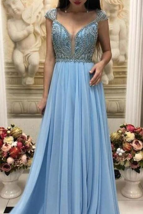 cap sleeve prom dresses 2020 beaded elegant blue crystals cheap chiffon prom gowns vestido de festa
