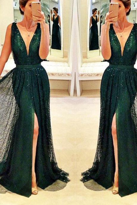 deep v neck mermaid evening dresses long sparkle bling hunter green elegant evening gown vestido de festa 2020