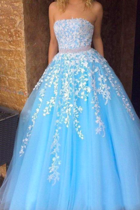 strapless prom dress, prom gown, elegant prom dress, lace applique prom dress, beaded prom dress, prom dresses 2020, vestido de festa de longo, blue prom dress, prom dresses 2019