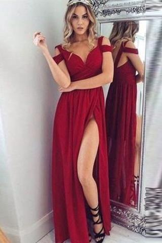 off the shoulder burgundy prom dresses 2020 long chiffon cheap sexy formal dresses prom gown vestido de festa