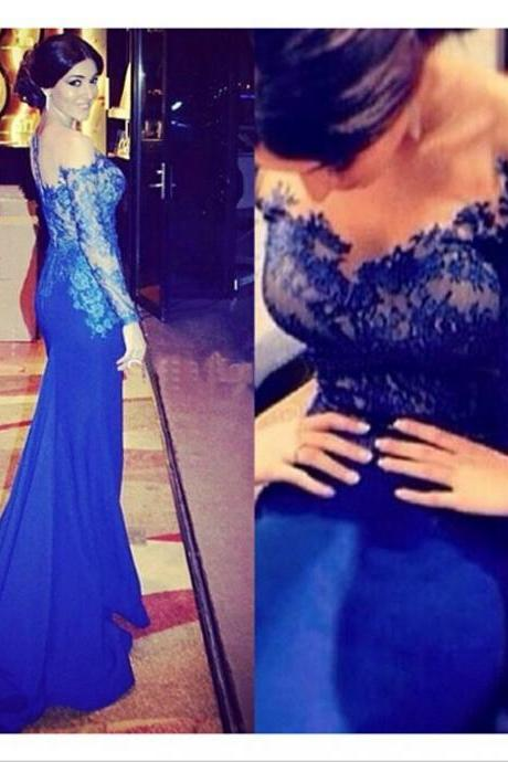 long sleeve evening dresses long mermaid royal blue lace applique elegant cheap evening gown formal dresses 2020