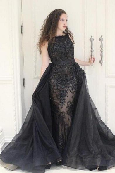 detachable skirt black evening dresses long lace applique elegant modest cheap evening gown vestido de festa de longo 2020