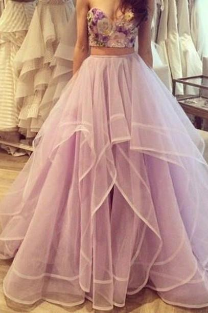2 piece prom dress embrodiery applique elegant tiered purple prom gown vestido de festa de longo 2020