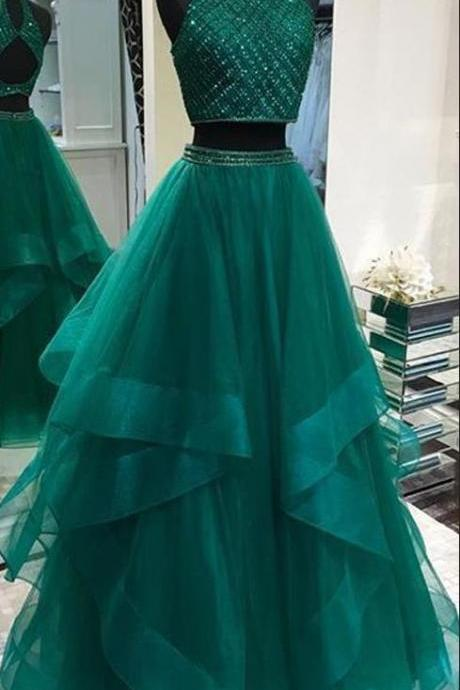 two piece prom dresses 2020 high neck beaded green elegant tiered tulle cheap prom gown robe de soiree 2019
