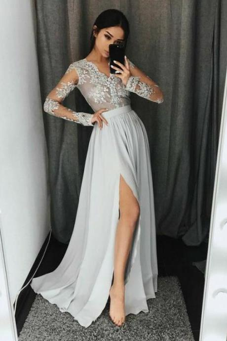 silver prom dresses long sleeve lace applique beaded chiffon cheap a line prom gown vestido de festa de longo 2020