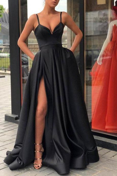 spaghetti straps black prom dresses long sexy cheap satin prom gowns elegant simple women formal party dresses 2020