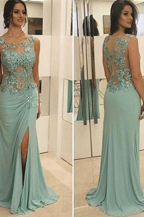 mint green mermaid evening dresses long 2020 lace applique sleeveless beaded elegant sexy formal party dresses